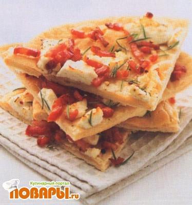 Рецепт Пицца с панчеттой, розмарином и козьим сыром