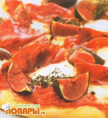 Рецепт Пицца с окороком и свежим инжиром