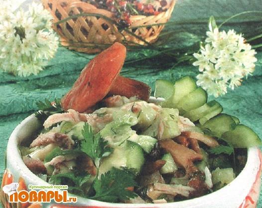 Рецепт Салат грибной с курицей