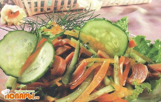 Рецепт Салат из шампиньонов и свежих огурцов
