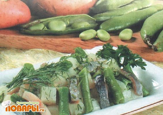 Рецепт Салат из сельди, картофеля и зеленой фасоли