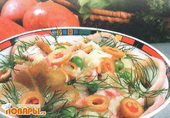 Рецепт Салат с кальмарами и картофелем