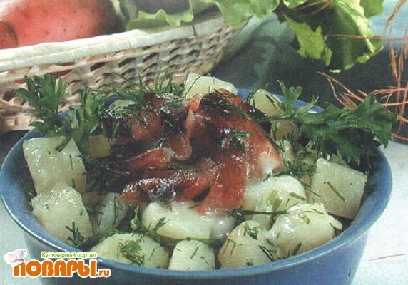 Рецепт Салат с рыбным филе горячего копчения
