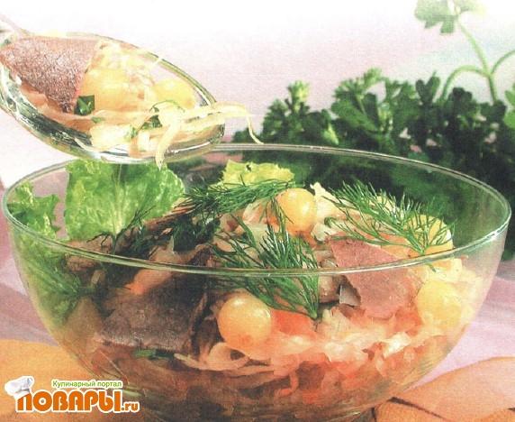 Рецепт Салат мясной с квашеной капустой