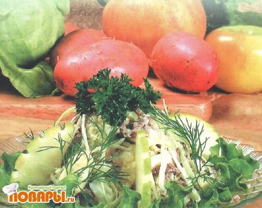 Рецепт Салат мясной с капустой и картофелем