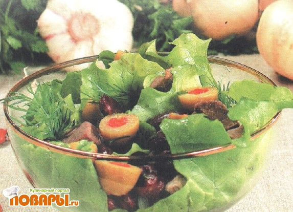 Рецепт Зеленый салат с мясом и фасолью