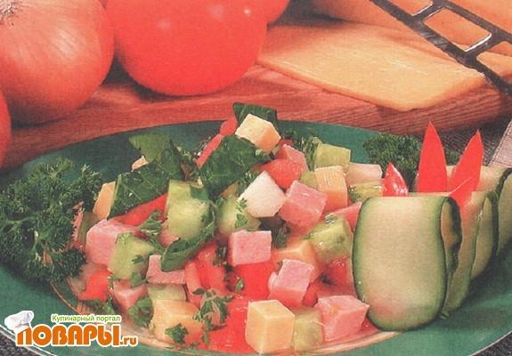 Рецепт Зеленый салат с ветчиной