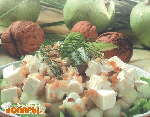 Рецепт Салат фруктовый с орехами и сыром