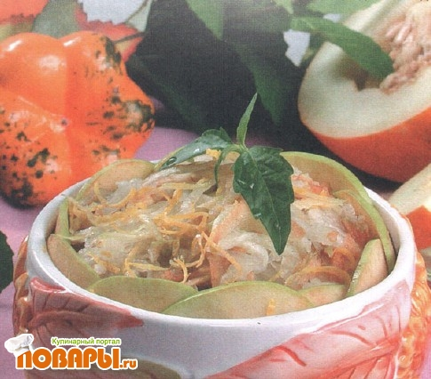 Рецепт Салат из дыни, яблок и тыквы