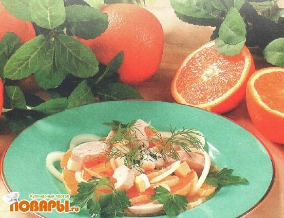 Рецепт Салат из апельсинов с курицей