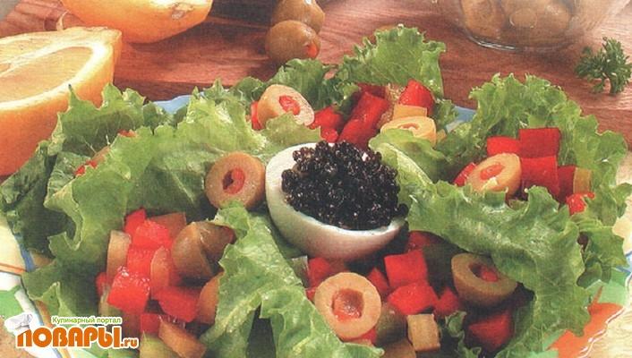 Рецепт Зеленый салат с икрой
