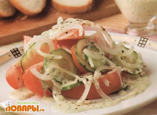 Рецепт Салат овощной с горчичным соусом
