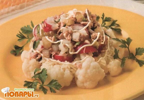 Рецепт Салат из цветной капусты с тунцом