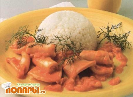 Рецепт Кальмары в сливочно-томатном соусе
