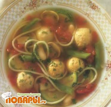 Рецепт Овощной суп с фрикадельками из мяса индейки