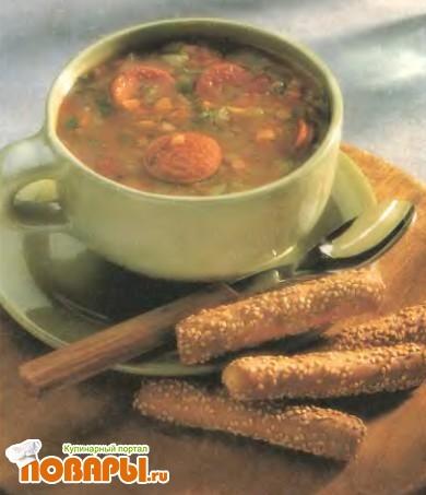 Рецепт Чечевичный суп с чесночными сардельками