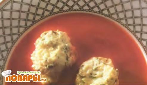 Рецепт Суп из красного перца с сырными клецками