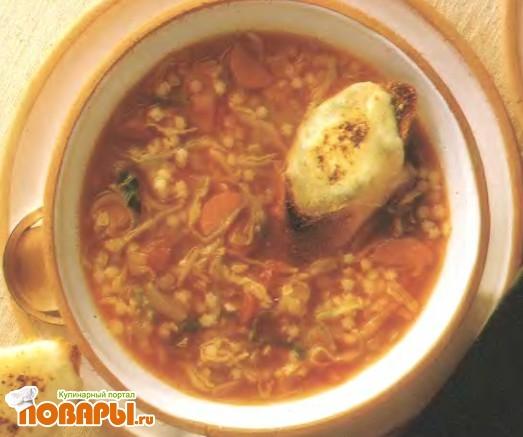 Рецепт Овощной суп с сырными тостами