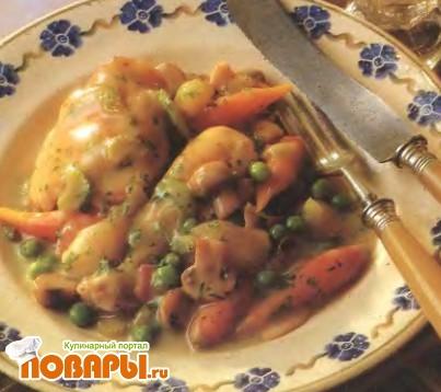 Рецепт Курица с овощами в белом винном соусе