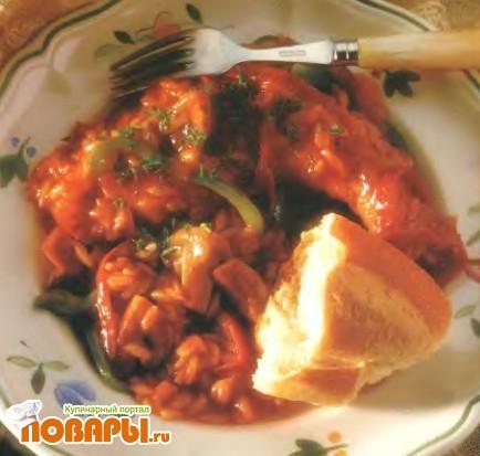 Рецепт Курица с грибами в остром томатном соусе