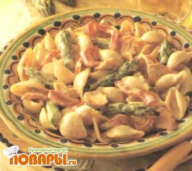 Рецепт Лосось со спаржей и пастой