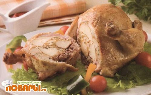 Рецепт Курица, фаршированная яблоками
