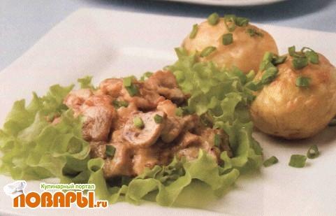 Рецепт Грибы с сырным соусом