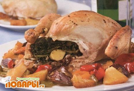 Рецепт Курица, запеченная с овощами и ананасом