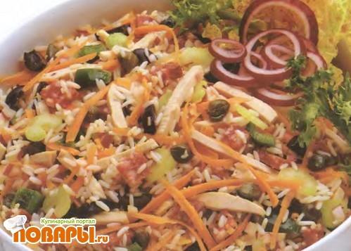 Рецепт Салат из индейки с рисом и маслинами