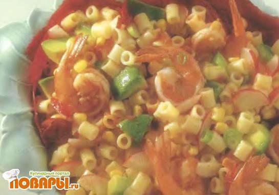 Рецепт Креветочный салат с кукурузой и авокадо