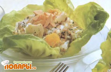 Рецепт Салат из копченой трески с апельсинами