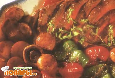 Рецепт Маринованный стейк с овощами