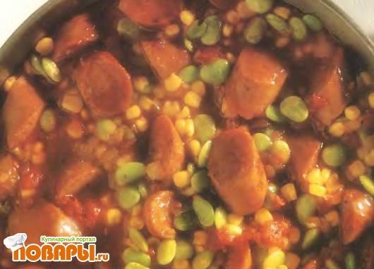 Рецепт Тушеная фасоль с сосисками