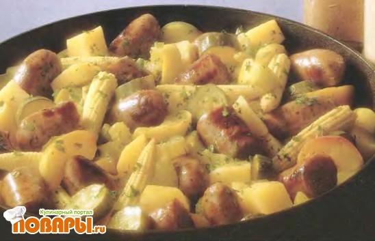 Рецепт Сосиски с овощами