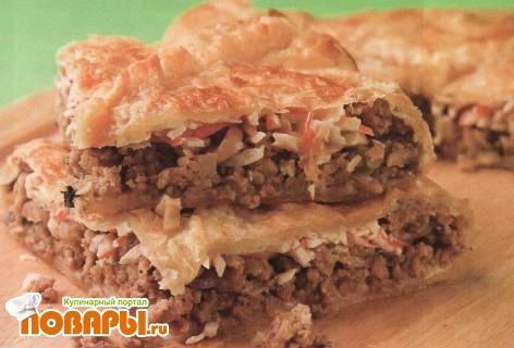Рецепт Пирог слоеный с крабовыми палочками