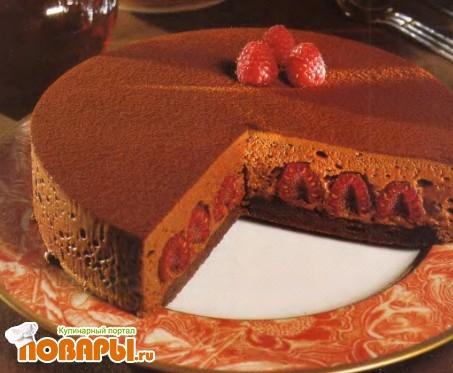 """Рецепт Воздушный шоколадно-малиновый торт """"Ганайа"""""""