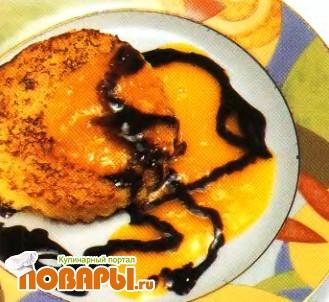 Рецепт Хлебцы с шоколадным соусом и компотом из мандаринов с лавандой