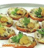 Хрустящие тосты с грибами