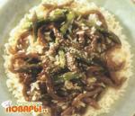 Поджарка из маринованной говядины с кунжутом