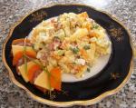 Салат «Витражный» с копченостями и горчицей