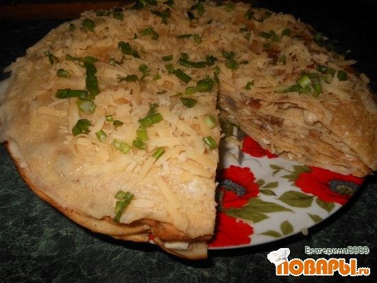 Рецепт Блинный пирог с курицей, грибами и сыром