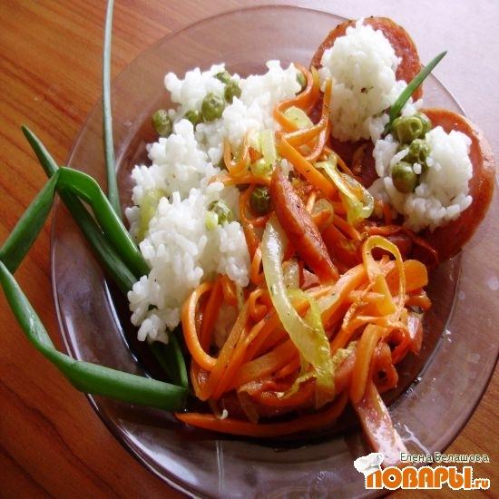 Рецепт Рисогорохо из горшочка с зажаренной колбасой из индейки