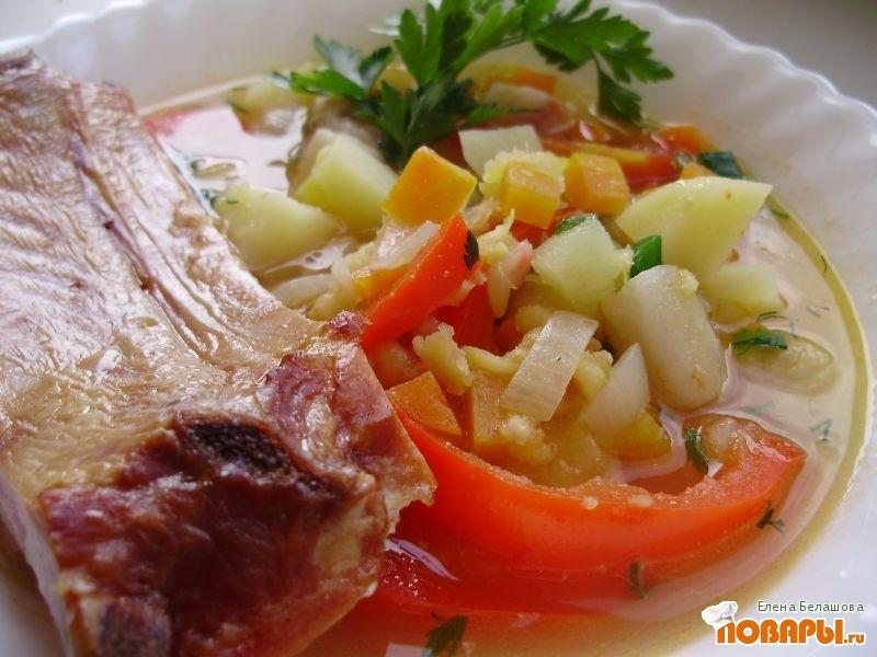 Рецепт Чечевичный суп с копченостью