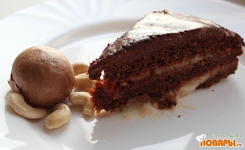 Рецепт Шоколадный торт с прослойкой из абрикосового варенья