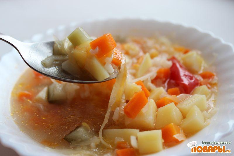 Рецепт Рисовый суп с капустой, огурцами и помидорами