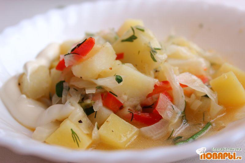Рецепт Капустный ужин (тушеная капуста с картофелем и Вкусняшкина вертута)