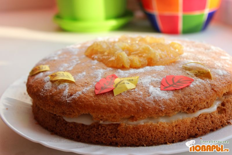 Рецепт Постный лимонный бисквитный торт с манным кремом и лимонным вареньем