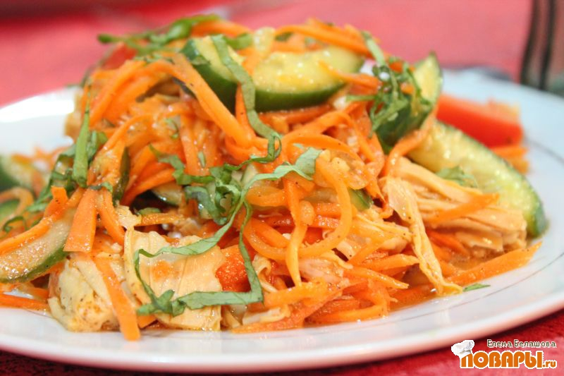 Рецепт Острая фучжи с морковью и свежими овощами