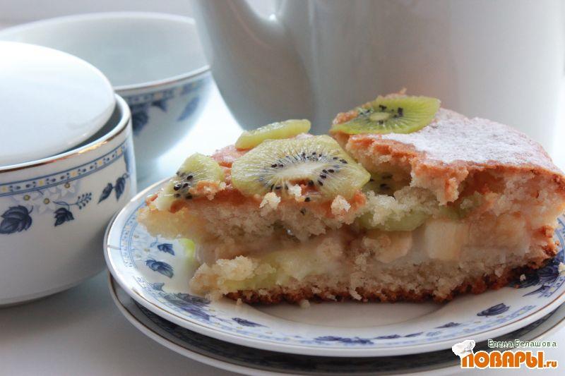 Рецепт Лимонный бисквит с киви и бананом
