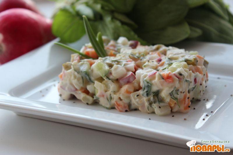 Рецепт Салат с редисом, огурцами и картофелем (постный)